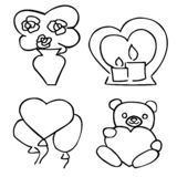 Etiquetas engomadas románticas lindas fijadas para la datación del día de tarjeta del día de San Valentín stock de ilustración