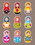 Etiquetas engomadas rusas de las muñecas Imagen de archivo libre de regalías