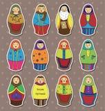 Etiquetas engomadas rusas de las muñecas Fotos de archivo libres de regalías