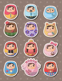 Etiquetas engomadas rusas de las muñecas Foto de archivo