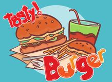 Etiquetas engomadas sabrosas del diseño del vector de la bandera de la hamburguesa fotografía de archivo
