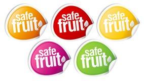 Etiquetas engomadas seguras de la fruta. Imágenes de archivo libres de regalías