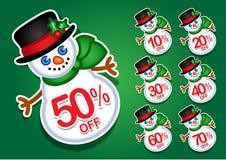 Etiquetas engomadas/sellos del descuento del vector del muñeco de nieve de la Navidad Fotografía de archivo