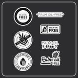 Etiquetas engomadas sin aceite de la palma ilustración del vector