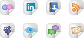 Etiquetas engomadas sociales de los media del establecimiento de una red Imagen de archivo libre de regalías