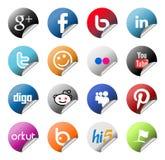 Etiquetas engomadas sociales del logotipo de la red fijadas Foto de archivo