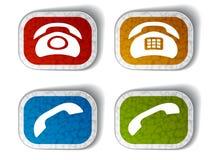 Etiquetas engomadas textured teléfono viejo Imagen de archivo libre de regalías