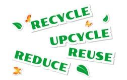 Etiquetas engomadas verdes ambientales stock de ilustración