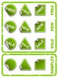 Etiquetas engomadas verdes del comercio del vector Foto de archivo