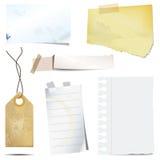 Etiquetas engomadas y desechos de papel sucios viejos Fotos de archivo