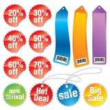 Etiquetas engomadas y escrituras de la etiqueta de la promoción Stock de ilustración