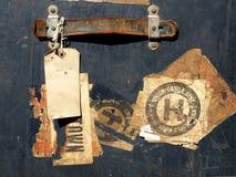 Etiquetas engomadas y escrituras de la etiqueta del caso del recorrido de la vendimia Fotos de archivo libres de regalías