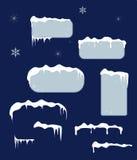 Etiquetas engomadas y etiquetas de la venta de la Navidad con los carámbanos Imágenes de archivo libres de regalías