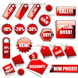 Etiquetas engomadas y etiquetas de las ventas Fotos de archivo