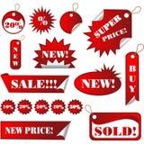Etiquetas engomadas y etiquetas de las ventas Imagenes de archivo