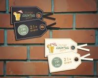 Etiquetas engomadas y etiquetas del cóctel del salón Foto de archivo libre de regalías