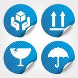 Etiquetas engomadas y etiquetas frágiles azules del círculo con el punto (Fra Foto de archivo libre de regalías