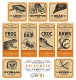Etiquetas engraçadas do farmacêutico de Dia das Bruxas do vintage - grupo 01 () Imagens de Stock Royalty Free