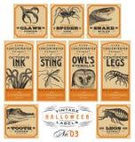 Etiquetas engraçadas do farmacêutico de Dia das Bruxas do vintage - grupo 03 () Foto de Stock