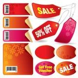Etiquetas, escrituras de la etiqueta y estrellas de la venta Stock de ilustración