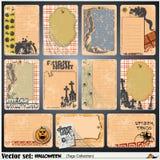 Etiquetas, etiqueta y etiqueta engomada en un tema de Halloween Imagenes de archivo