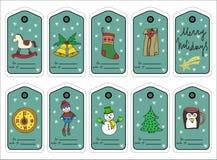 Etiquetas, etiquetas engomadas y etiquetas del regalo de la Navidad Vector Imagen de archivo