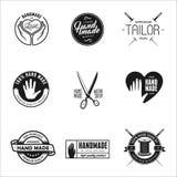 Etiquetas feitos à mão, crachás e elementos do projeto no estilo do vintage Imagem de Stock Royalty Free