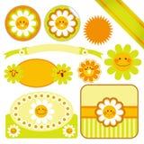Etiquetas felizes da margarida Imagens de Stock