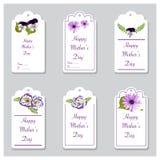 Etiquetas florales de los saludos de la primavera Fotografía de archivo libre de regalías