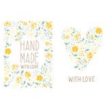 Etiquetas florales hechas a mano Fotos de archivo