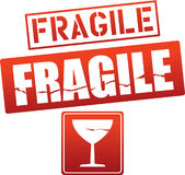 Etiquetas frágeis do cuidado do vetor Imagens de Stock Royalty Free