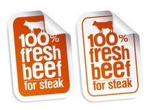 Etiquetas frescas da carne ilustração royalty free