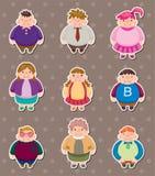 Etiquetas gordas dos povos dos desenhos animados Fotos de Stock Royalty Free