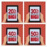 Etiquetas grandes da venda Imagens de Stock