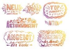 Etiquetas Hand-Drawn ilustração stock