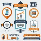 Etiquetas industriales de las insignias con los iconos del aceite y de la gasolina Foto de archivo libre de regalías