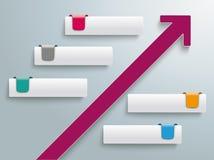 Etiquetas Infographic de la flecha 5 del crecimiento Imagenes de archivo