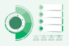 Etiquetas infographic modernas como um círculo e um semicírculo no co verde ilustração do vetor