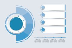 Etiquetas infographic modernas como um círculo e um semicírculo no colo azul ilustração stock
