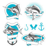 Etiquetas, insignias e iconos de los pescados ilustración del vector