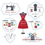 Etiquetas, insignias y emblemas del sastre Imagen de archivo libre de regalías