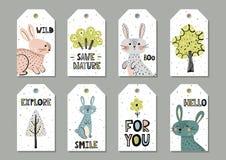 Etiquetas lindas del regalo de los conejos fijadas en estilo escandinavo ilustración del vector