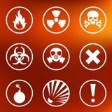 Etiquetas lisas dos sinais de aviso ilustração stock