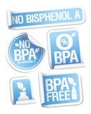 Etiquetas livres dos produtos de Bisphenol A. Fotos de Stock Royalty Free