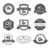 Etiquetas, logotipos e insignias de la tienda de la carne fijados Imágenes de archivo libres de regalías