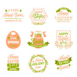 Etiquetas, logotipos e insignias felices de Pascua libre illustration