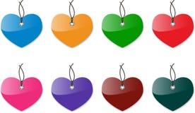 Etiquetas lustrosas do coração Fotos de Stock Royalty Free