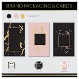 Etiquetas luxuosas e projeto de cartões Projeto elegante: Rosa, ouro e fundos pretos Projeto do vetor Foto de Stock Royalty Free