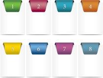 Etiquetas marcadas con etiqueta coloreadas y numeradas fotos de archivo libres de regalías
