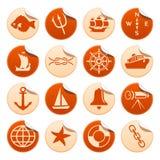 Etiquetas marinhas Imagens de Stock